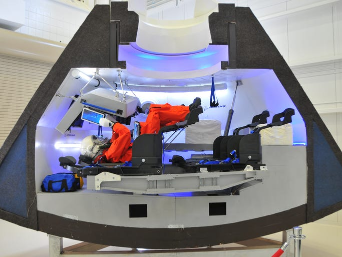 Boeing unveiled its CST-100 capsule on Monday, June 9, 2014 at Kennedy Space Center. The capsule aims to be a reusable spacecraft meant for NASA's Commercial Crew program.
