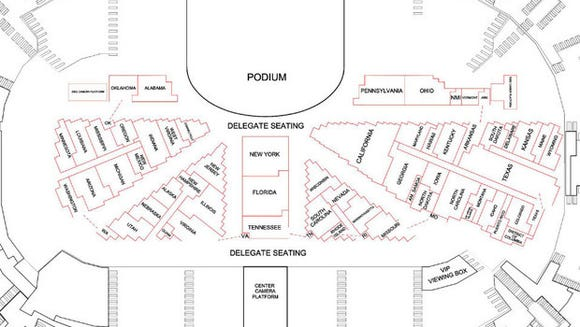 The delegate seating chart for the 2016 Republican