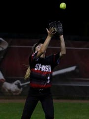 Stevens Point High SchoolÕs Megan Miklesh makes a catch in the outfield.  Kaukauna played Stevens Point in the WIAA Division 1 Semifinal softball game at UWÕs Goodman Diamond, Madison, Wis., June 9, 2017. Kaukauna won 3 - 0.
