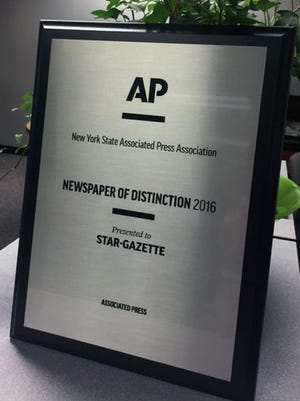 The Star-Gazette was named 2016 Newspaper of Distinction at the New York Associated Press awards ceremony on June 3, 2017 in Saratoga Springs.