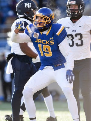 South Dakota State Jackrabbits wide receiver Jake Wieneke (19) celebrates after scoring a touchdown during the first half of their FCS Championship quarterfinal game against the University of New Hampshire on Dec. 9, 2017 in Brookings, S.D.