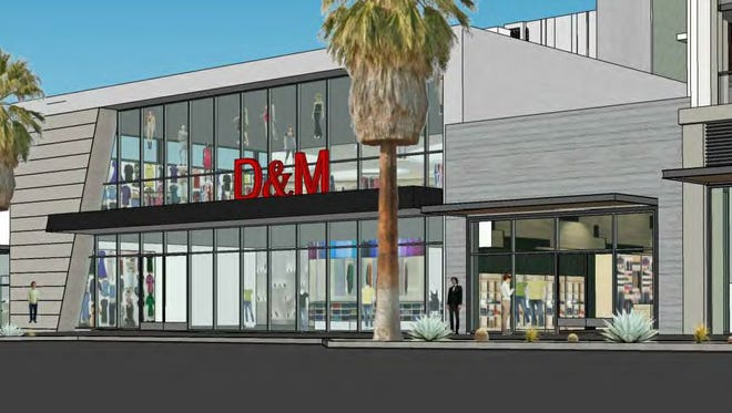 An architect's rendering of the Palm Canyon Drive front of a retail building planned for downtown Palm Springs. Developers has asked the city to allow increasing the building's height from one story to two.