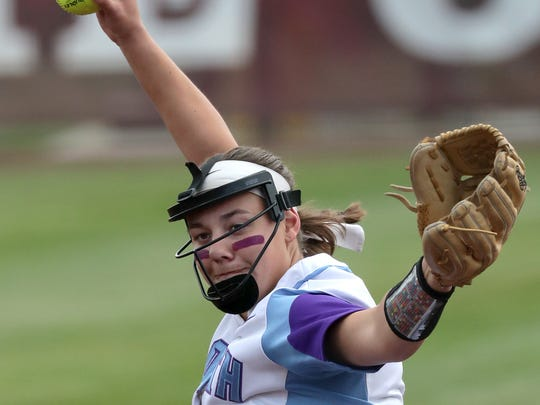 Waukesha North pitcher Maddy Anderson delivers a pitch in the first inning.