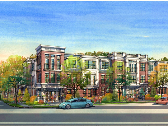 Artist's conception of the residential apartments and medical facility proposed for the property bordered by Woodland Road, left, and Chatham Road.