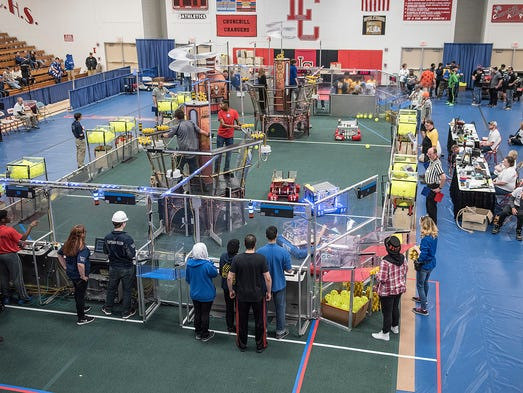 The robotics competition at Churchill High School is