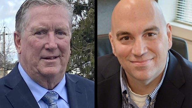 Cranston Councilman Kenneth Hopkins, left, and Council President Michael Farina.