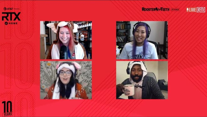 Rooster Teeth community and events managers Chelsea Atkinson, Jackie Izawa, Steffie Hardy and George Panga take part in RTX At Home, Rooster Teeth's virtual version of its annual RTX event.