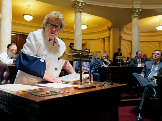 Senate Majority Leader Loretta Weinberg speaks about marriage equality during a voting session in the Senate chamber at the State House in Trenton, NJ Monday June 27, 2016.