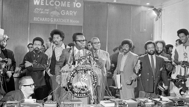 Gary, Ind., Mayor Richard Hatcher, one of the first African Americans to lead a major city, speaks at the National Black Political Convention on March 10, 1972. Some 8,000 attendees worked on an agenda for action that included education, health care and more.