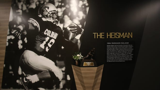 Rashaan Salaam's 1994 Heisman trophy win is commemorated in the University of Colorado Champions Center.