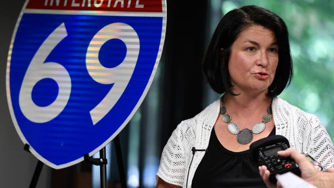 I-69 Ohio River Crossing spokesperson Mindy Peterson discusses the narrowing of the five considered corridors to three at a press conference held at the projects office in Henderson Thursday, July 20, 2017.