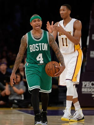 Isaiah Thomas reacts after getting ejected.