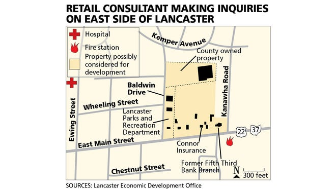 A retail consultant group has been making inquiries on the availability of property on East Main Street between Baldwin Drive and Kanawha Road in Lancaster. The group has so far not said who they are representing. The total amount of land in question is about 15 acres.