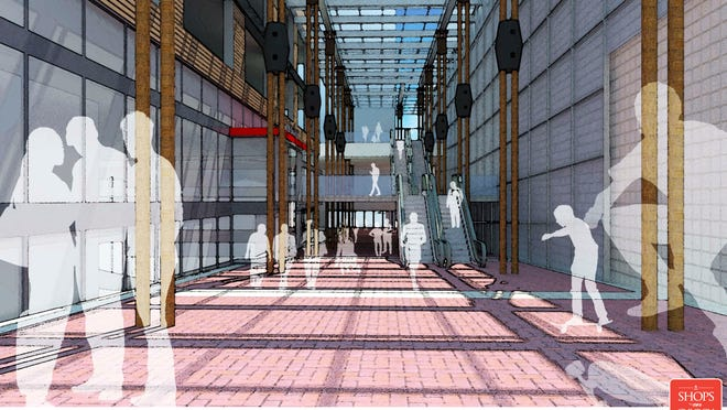 Proposed for a new Burlington Town Center mall: A street-level arcade would extend pedestrian access on Pine Street between Bank and Cherry streets.