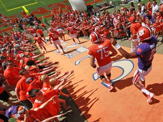Clemson University spring game in Memorial Stadium before a record crowd of 37,000
