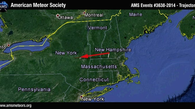 American Meteor Society's trajectory projection.