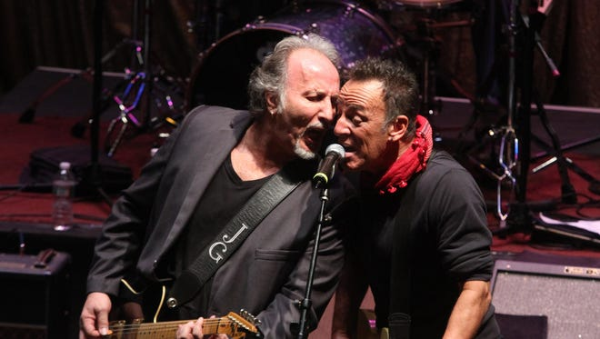 Joe Grushecky, shown performing with Bruce Springsteen at the Light of Day Festival at the Paramount Theatre in Asbury Park in 2014, first played with Bruce in July 1982 at Big Man's West in Red Bank.