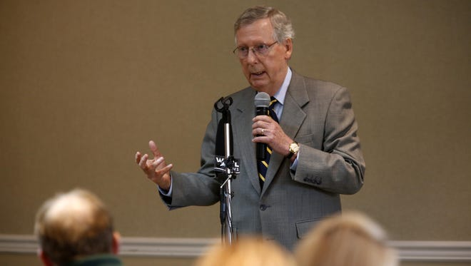 Senator Mitch McConnell made a point while giving a speech in Bullitt Co. July 20, 2015.