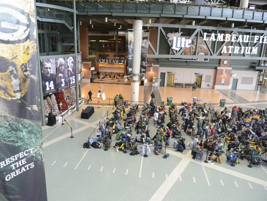 More than 200 people waited for the doors to Lambeau