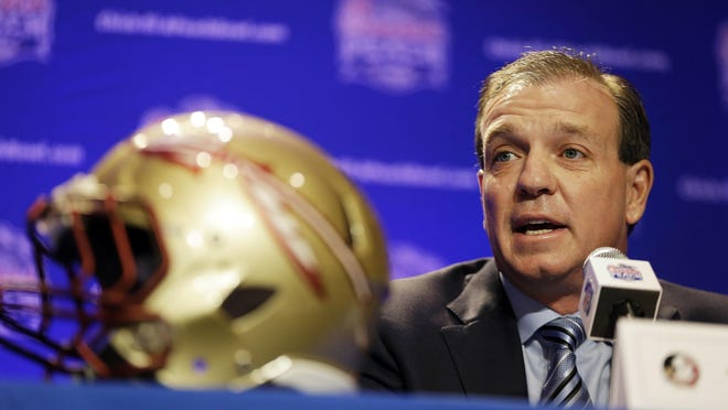 Florida State head coach Jimbo Fisher speaks during a press conference for the Peach Bowl NCAA college football game Wednesday, Dec. 30, 2015, in Atlanta. Houston plays Florida State on Thursday. (AP Photo/David Goldman)