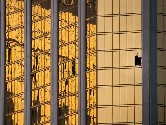 LAS VEGAS, NV - OCTOBER 3: A window is broken on the