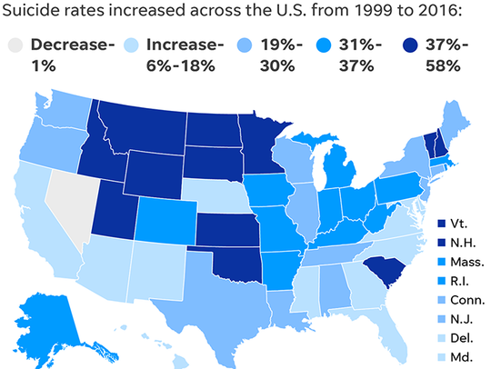 Suicide rates across the U.S.
