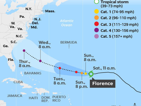 Map shows the predicted path of tropical storm Florence through Thursday morning.