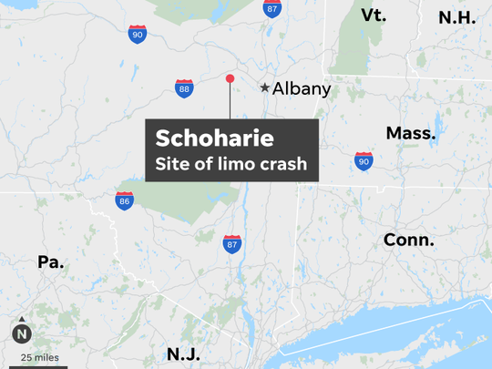 New York, Schoharie, limo, crash