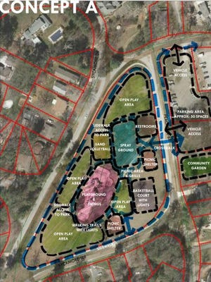 """""""Concept A"""" is one of three possible layouts for Jake Rusher Park."""