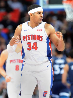Pistons' Tobias Harris celebrates after a 3-pointer in the fourth quarter.