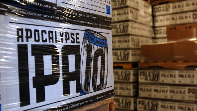 Cases of Apocalypse IPA from 10 Barrel Brewing Co. awaits shipment in Bend, Ore.