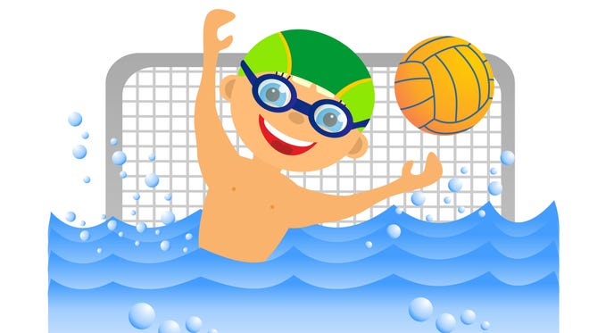 Childrens sport in summertime. Boy water polo player