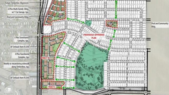 This site plan shows additional housing planned at the East Ridge development near the intersection of Timberline Road and Vine Drive in northeast Fort Collins.