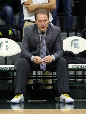 Michigan State coach Tom Izzo wears Lacey's Laces supporting Coaches for Cancer prior to Tuesday's game against Purdue.
