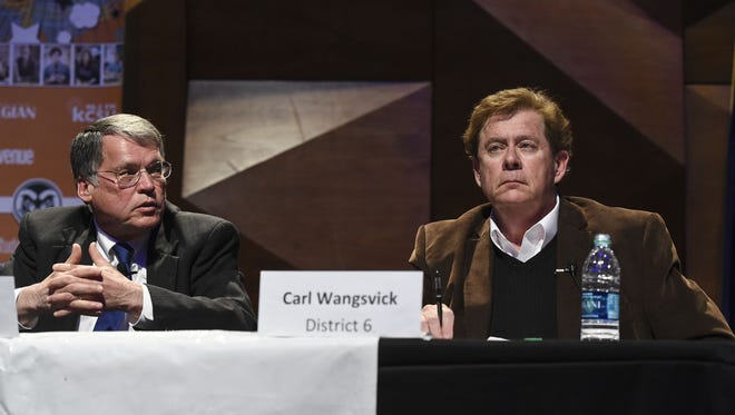District 6 candidates Gerry Horak, left, and Carl Wangsvick participate in a City Council candidate forum March 11 at CSU's Lory Student Center. Horak defeated Wangsvick by 23 votes, too many to trigger an automatic recount.
