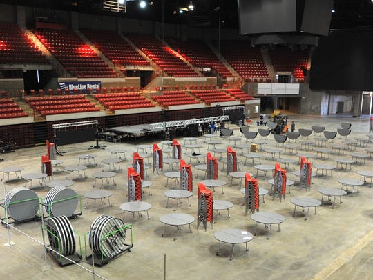 Chairs and tables are arranged Monday morning in preparation for the 2018 Texas Alliance of Energy Producers Expo being held April 24 and 25 at the Wichita Falls Multipurpose Event Center and the Kay Yeager Coliseum.