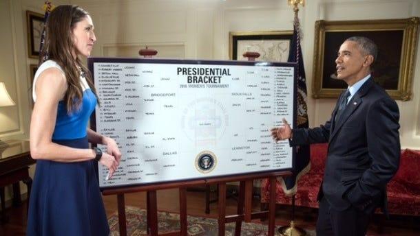 President Barack Obama unveils his NCAA Women's Basketball Tournament bracket with ESPN analyst Rebecca Lobo.