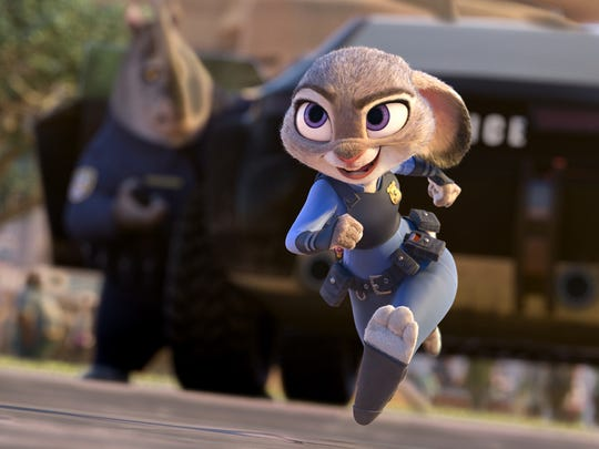 "Officer Hopps (voice of Ginnifer Goodwin) is on the case in ""Zootopia."""