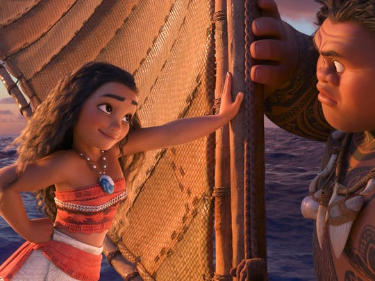This image released by Disney shows characters Maui,