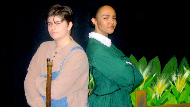 """Genna Johnson (left) plays Andrew Carnes and Ania Briggs is Aunt Eller in Cast A performances of """"Oklahoma."""""""