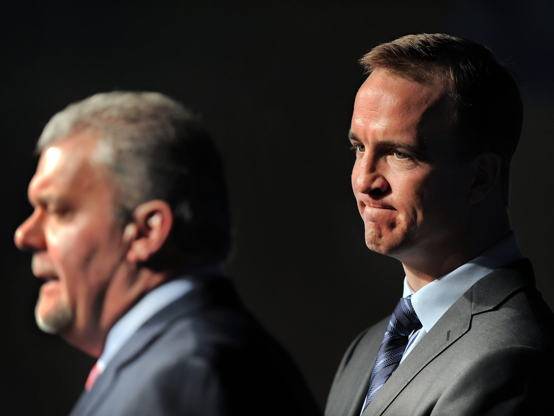 Manning fought back emotions on March 7, 2012, the