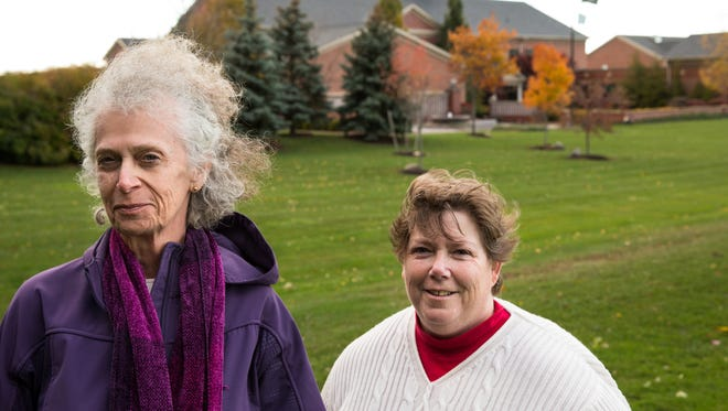 Greece residents Linda Stephens, left, and Susan Galloway, shown here in front of the Greece Town Hall.
