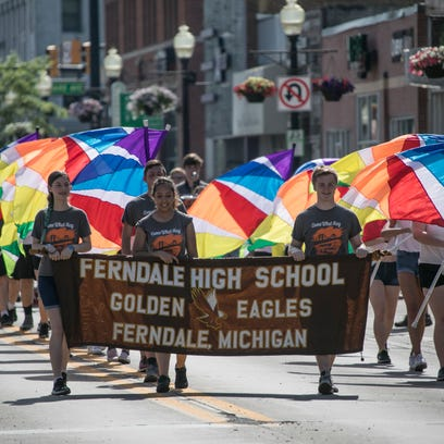 Members of the Ferndale high school color guard during