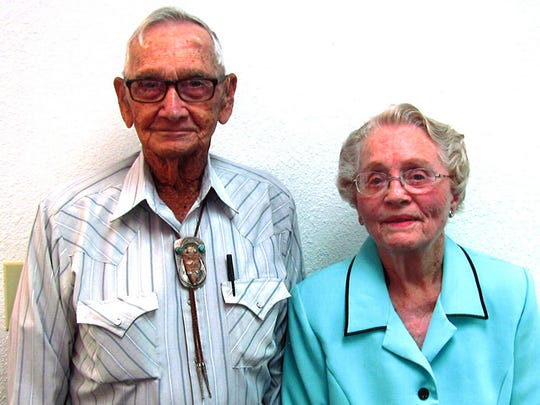 Clara Ellen and Dee Simpson, their four children and other family members, are attending services today, June 5, at First Baptist Church in Tularosa, where they were married 70 years ago on June 4, 1946.