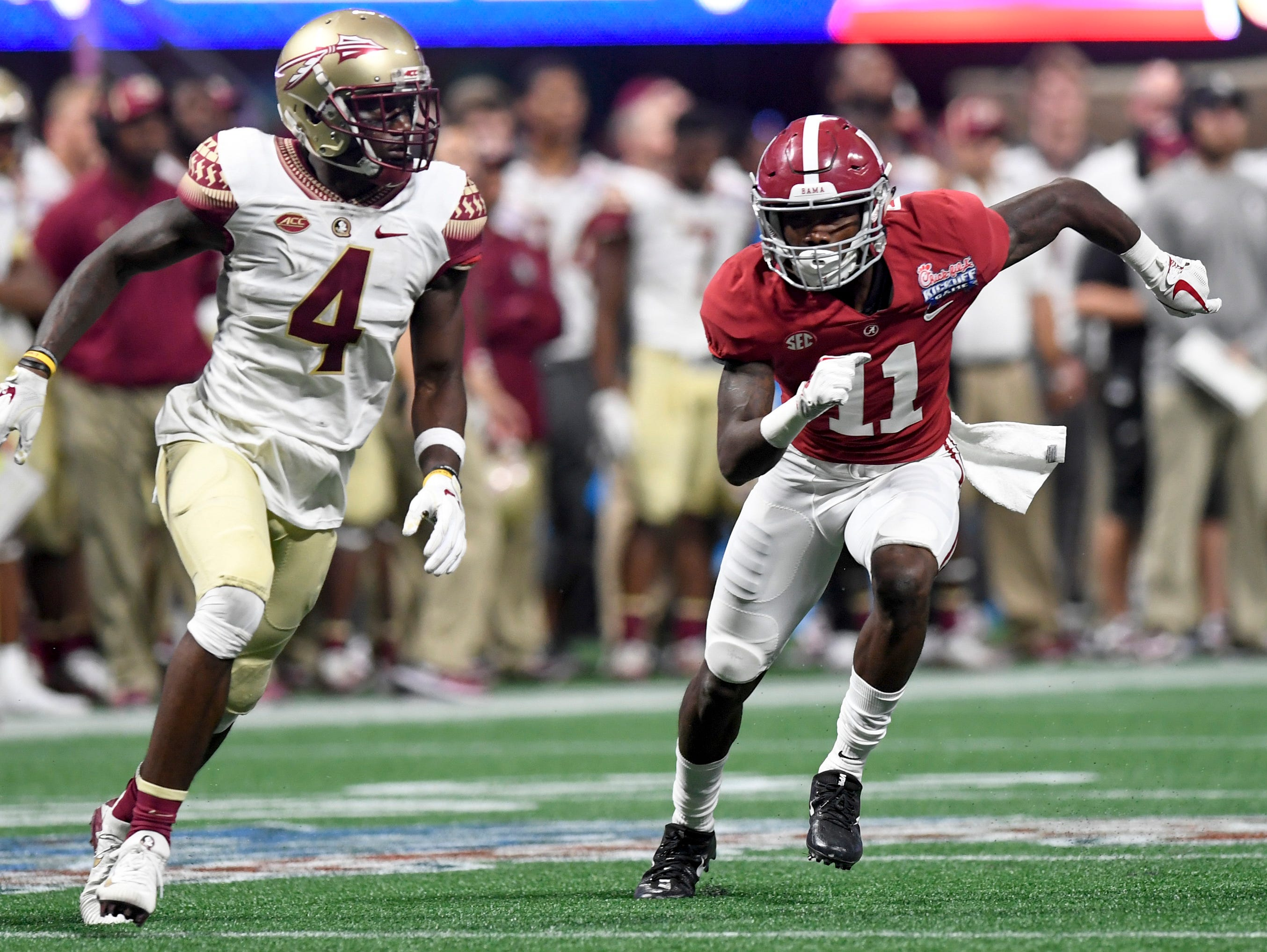 Alabama wide receiver Henry Ruggs III (11) against Florida State in the Chick-fil-a Classic at the Mercedes - Benz Stadium in Atlanta, Ga., on Saturday September 2, 2017. (Mickey Welsh / Montgomery Advertiser)