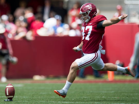 Alabama kicker Joseph Bulovas (97) kicks off during the A-Day Game at Bryant-Denny Stadium on the University of Alabama campus in Tuscaloosa, Ala. on Saturday April 21, 2018.