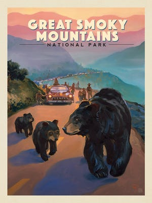 """The """"Bear Jam"""" poster from the """"Illustrated Guide to Great Smoky Mountains National Park"""" by Dan Pierce, Joel Anderson and Nathan Anderson."""