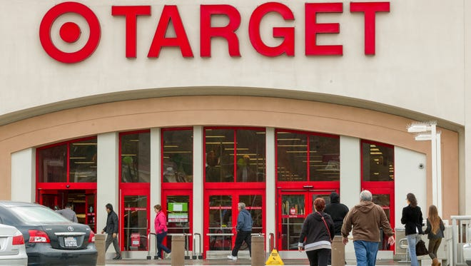 Shoppers arrive at a Target store in Los Angeles.