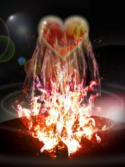 """My Heart is on Fire"" by Mike Riley, one of the works"