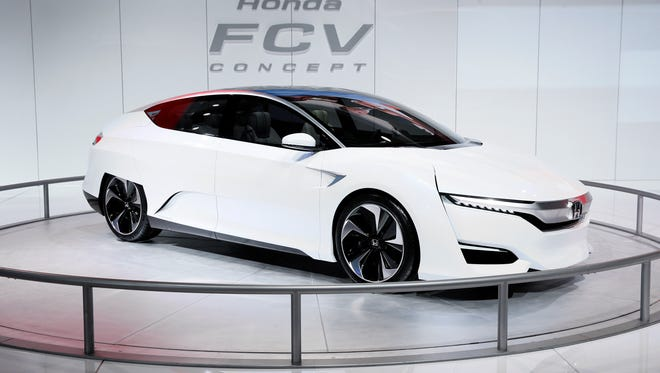 The Honda FCV Concept is displayed during media previews for the North American International Auto Show in Detroit on Jan. 13.